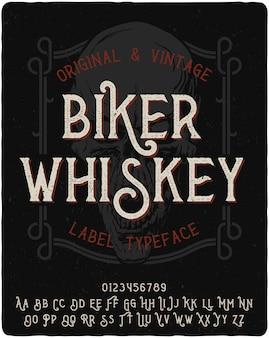 Carattere tipografico etichetta biker whisky