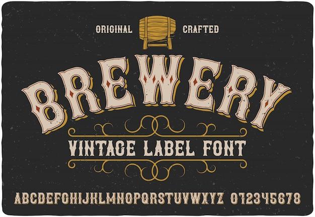 Carattere tipografico etichetta birreria