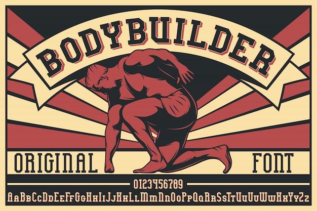 Carattere tipografico etichetta bodybuilder