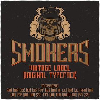 Carattere tipografico etichetta fumatori