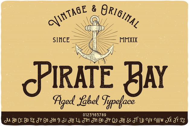 Carattere tipografico etichetta pirate bay