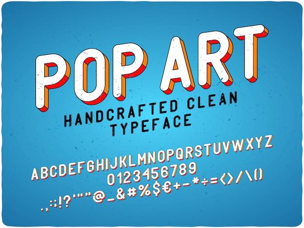 Carattere tipografico etichetta pop art