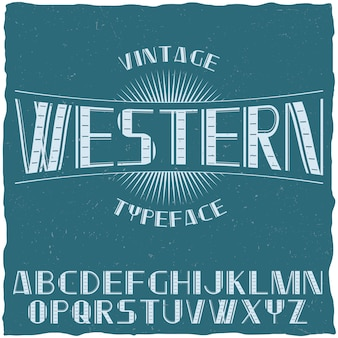 Carattere tipografico etichetta vintage denominato western con alfabeto sull'illustrazione blu