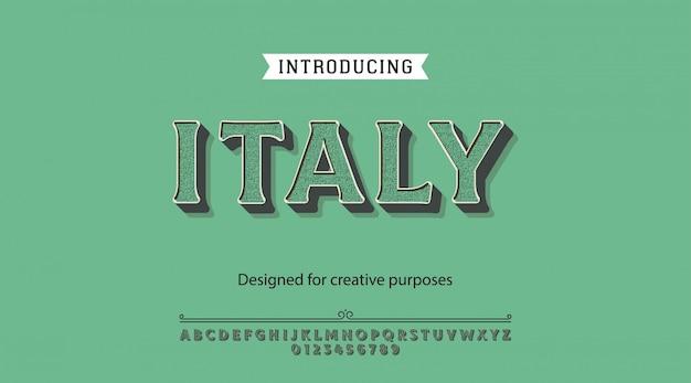Carattere tipografico in italia. per etichette e design di tipi diversi