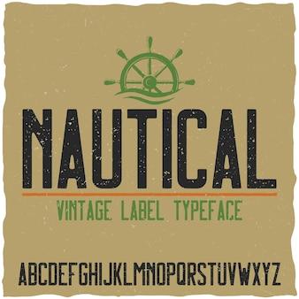 Carattere tipografico nautico e campione