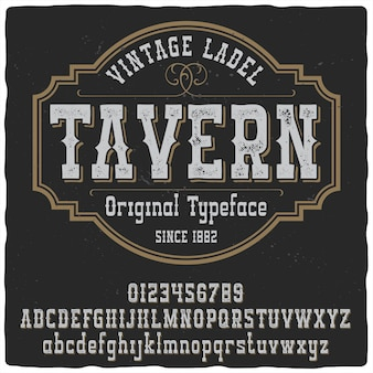 Carattere tipografico per etichetta taverna