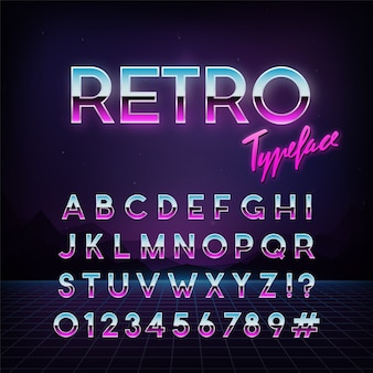 Carattere tipografico retrò futuristico.