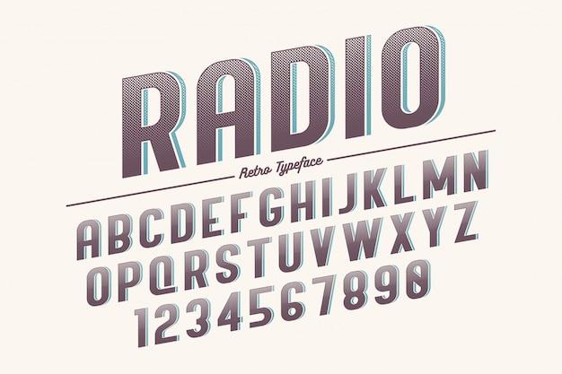 Carattere tipografico retrò vintage decorativo di vettore, carattere, carattere tipografico.