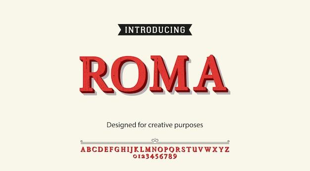 Carattere tipografico rom. digitare il design