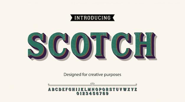 Carattere tipografico scozzese. per etichette e disegni di tipi diversi