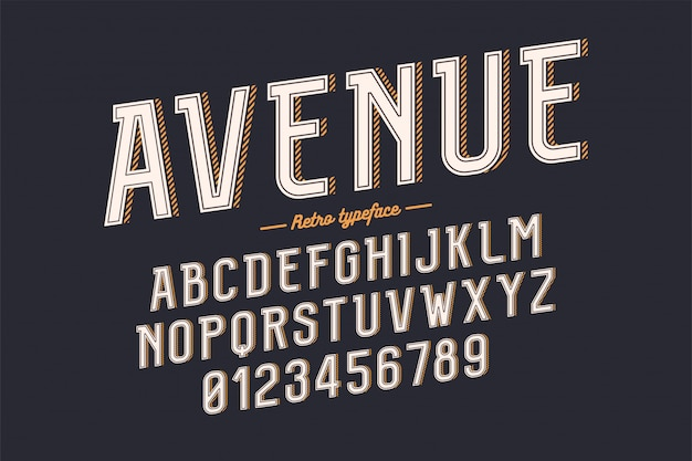 Carattere tipografico vintage decorativo retrò