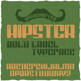 Carattere tipografico vintage denominato hipster