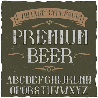 Carattere tipografico vintage denominato premium beer
