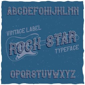 Carattere tipografico vintage denominato rock star