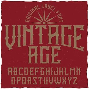 Carattere tipografico vintage denominato vintage age