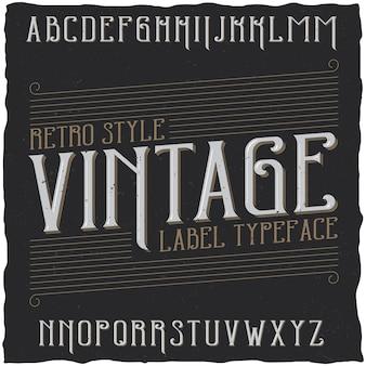 Carattere tipografico vintage denominato vintage