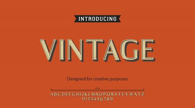 Carattere tipografico vintage.per etichette e disegni di tipi diversi