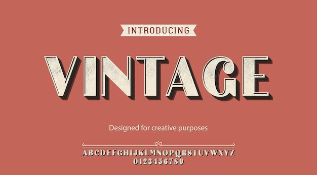 Carattere tipografico vintage. per scopi creativi