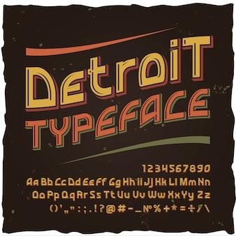 Carattere tipografico vintage pop art