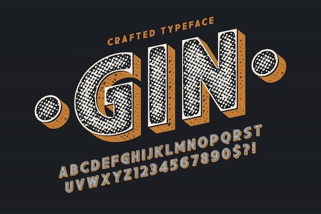 Carattere tipografico vintage vettore decorativo, lettere e numeri