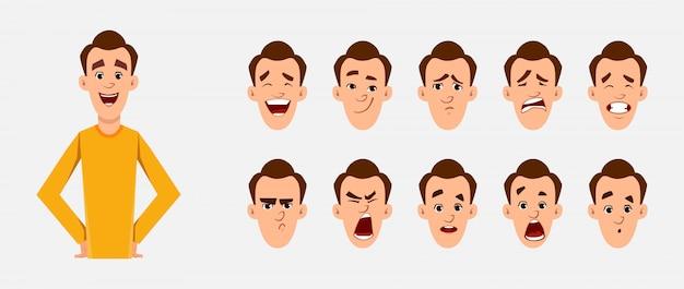 Carattere uomo casual con varie emozioni facciali