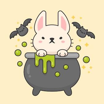 Carattere vettoriale di coniglio carino in una pentola di veleno con pipistrelli