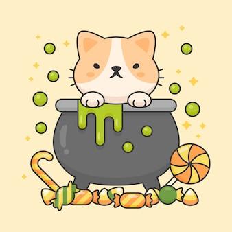 Carattere vettoriale di simpatico gatto in una pentola di veleno con caramelle dolci