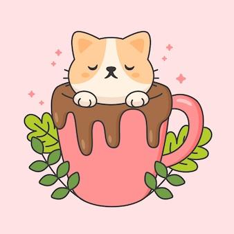 Carattere vettoriale di simpatico gatto in una tazza di cioccolato