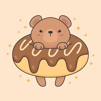 Carattere vettoriale di simpatico orso in una ciambella al cioccolato
