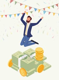 Carattere vettoriale milionario maschio di successo