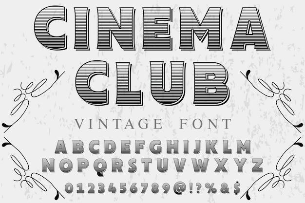 Carattere vintage con la parola cinema club