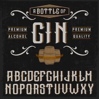 Carattere 'vintage gin' realizzato a mano con botti e decorazioni