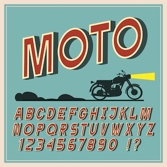 Carattere vintage, lettere e numeri retrò, tipografia alfabeto