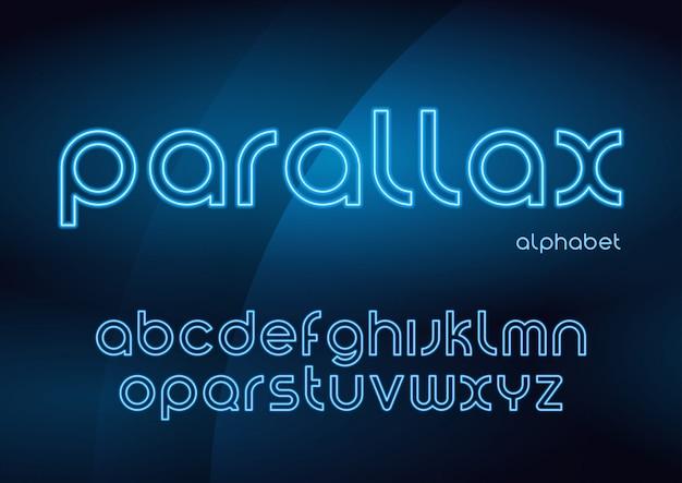 Caratteri al neon lineari vettoriali parallasse, alfabeto, lettere, font,