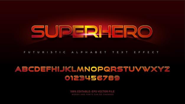 Caratteri alfabetici moderni supereroi con effetto testo