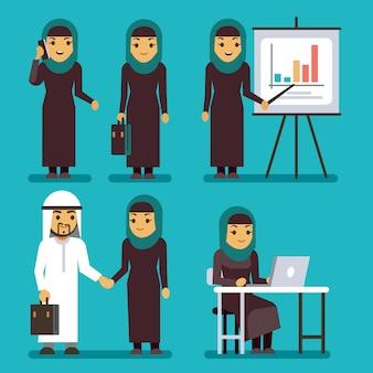 Caratteri arabi di vettore della donna di affari messi