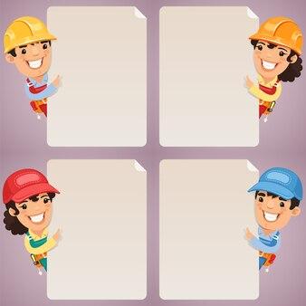 Caratteri dei cartoni animati dei costruttori che esaminano insieme in bianco del manifesto