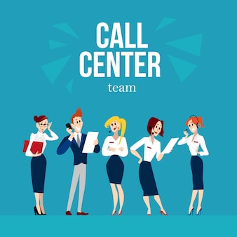 Caratteri dei lavoratori del call center. illustrazione.