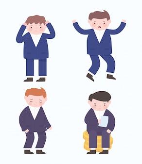 Caratteri dell'uomo d'affari di fallimento icone di crisi finanziaria del processo aziendale