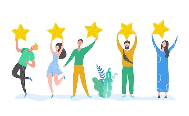 Caratteri della gente che tengono le stelle d'oro. uomini e donne valutano i servizi e l'esperienza dell'utente. valutazione delle giurie al concorso. recensione positiva a cinque stelle o feedback positivo. illustrazione del fumetto