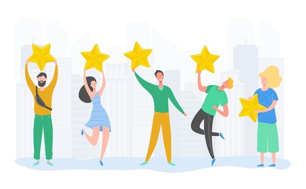 Caratteri della gente che tengono le stelle d'oro. uomini e donne valutano i servizi e l'esperienza dell'utente. valutazione delle giurie al concorso. recensione positiva a quattro stelle o feedback positivo. illustrazione del fumetto