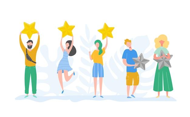 Caratteri della gente che tengono le stelle d'oro. uomini e donne valutano i servizi e l'esperienza dell'utente. valutazione delle giurie al concorso. recensione positiva a tre stelle, feedback non buono. illustrazione del fumetto