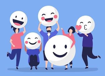 Caratteri della gente che tiene l'illustrazione positiva degli emoticon
