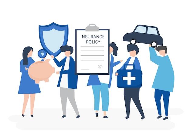 Caratteri della gente che tiene l'illustrazione delle icone di assicurazione