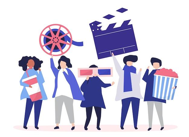 Caratteri della gente che tiene l'illustrazione delle icone di film
