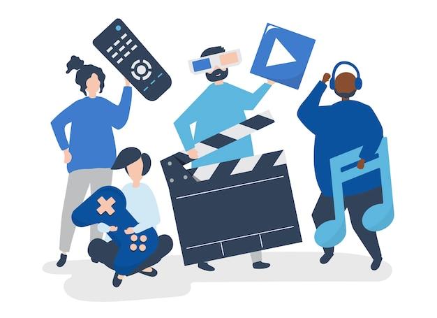 Caratteri della gente che tiene l'illustrazione delle icone di multimedia
