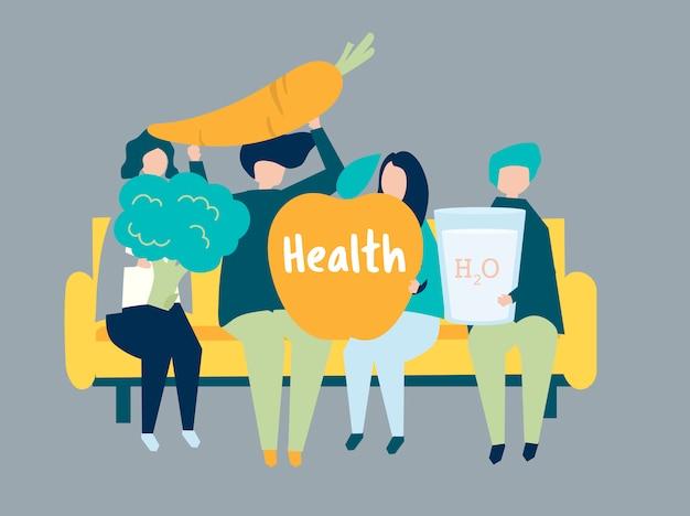 Caratteri della gente che tiene l'illustrazione delle icone di salute