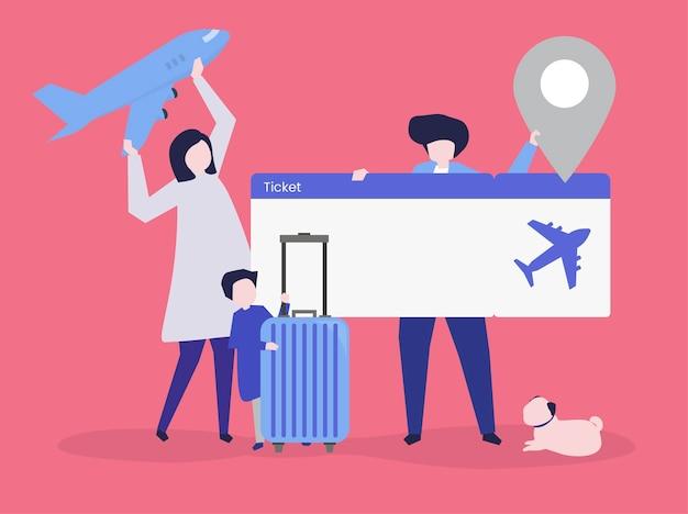 Caratteri della gente che tiene l'illustrazione delle icone di viaggio