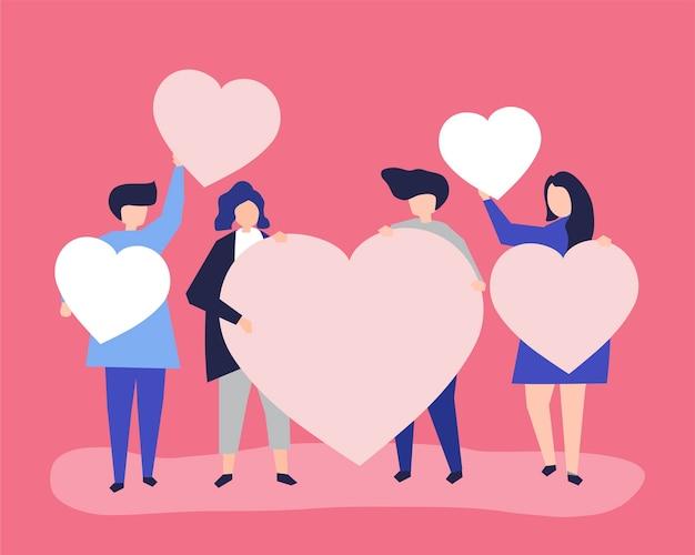 Caratteri della gente che tiene l'illustrazione di forme del cuore