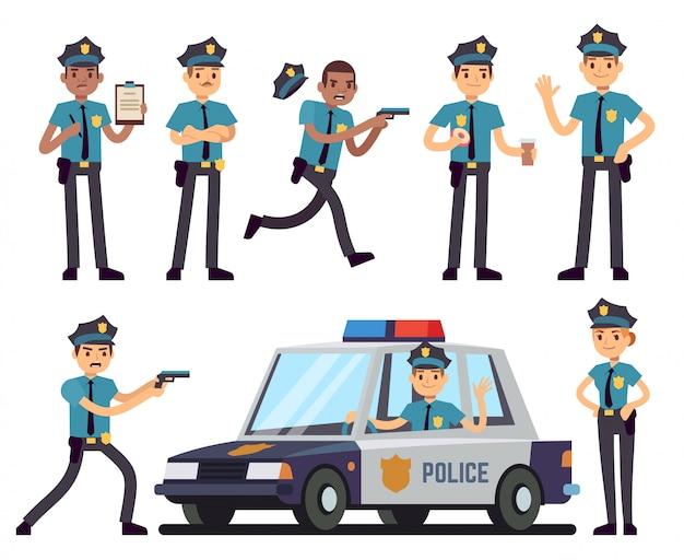 Caratteri della poliziotta e del poliziotto del fumetto nell'insieme di vettore dell'uniforme della polizia